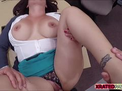 Busty and Sexy woman gets fucked hard inside the secret pawnshop