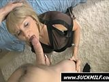 Trashy mommy sucking a massive dick