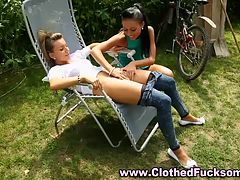 Clothed outdoor lesbos lick