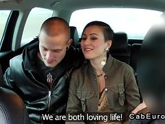 European married couple foreplay in fake taxi