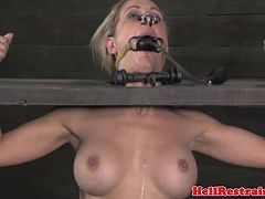 Bounded female slave has to breath through a small tube