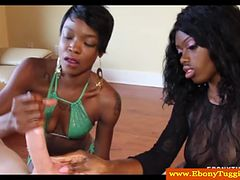Two cfnm ebony skanks jerking white cock