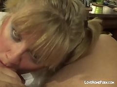Amateur blonde fatty gives amazing blowjob